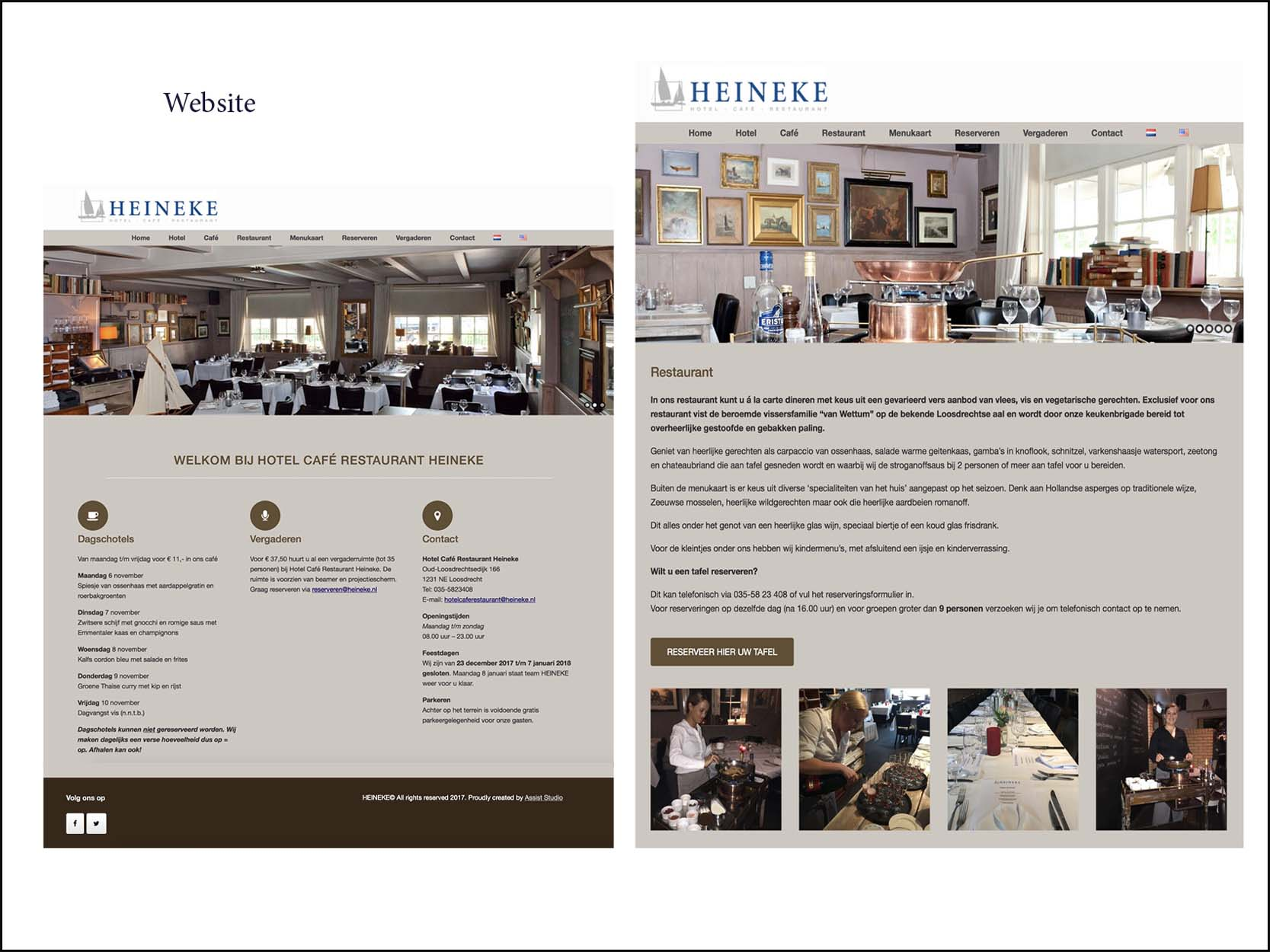 website Hotel Cafe Restaurant Heineke Loosdrecht